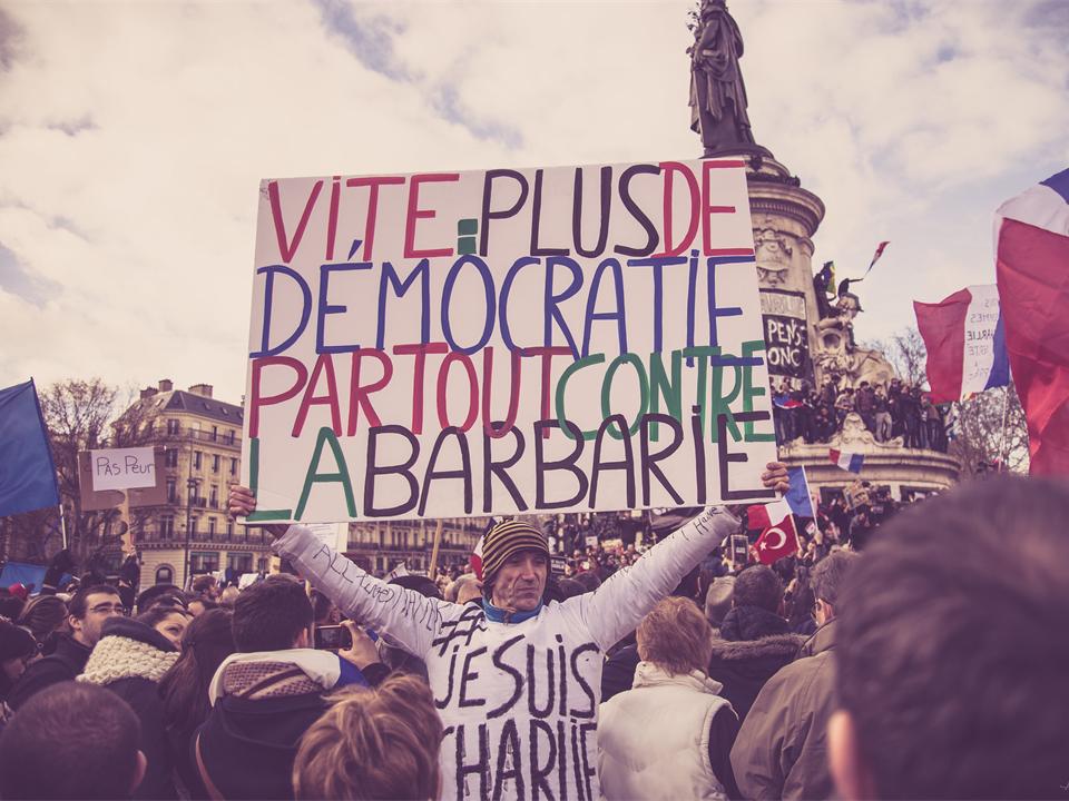 Manifestant demandant davantage de démocratie. Photo CC Adrien Fauth